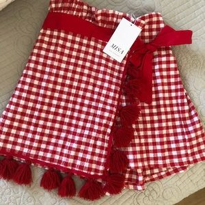 MISA | Red Gingham tassel Shorts
